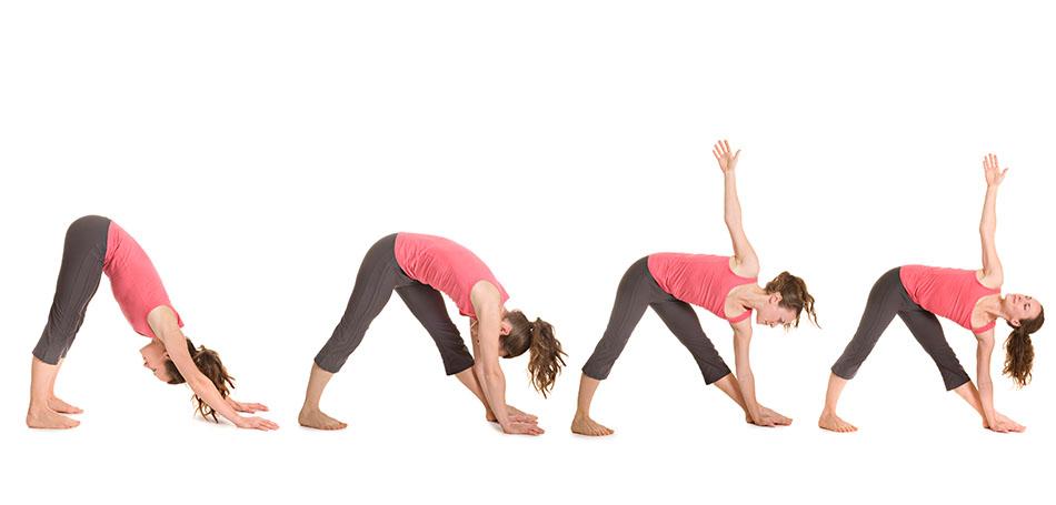 Frau macht Yogaübung Heldendreieck